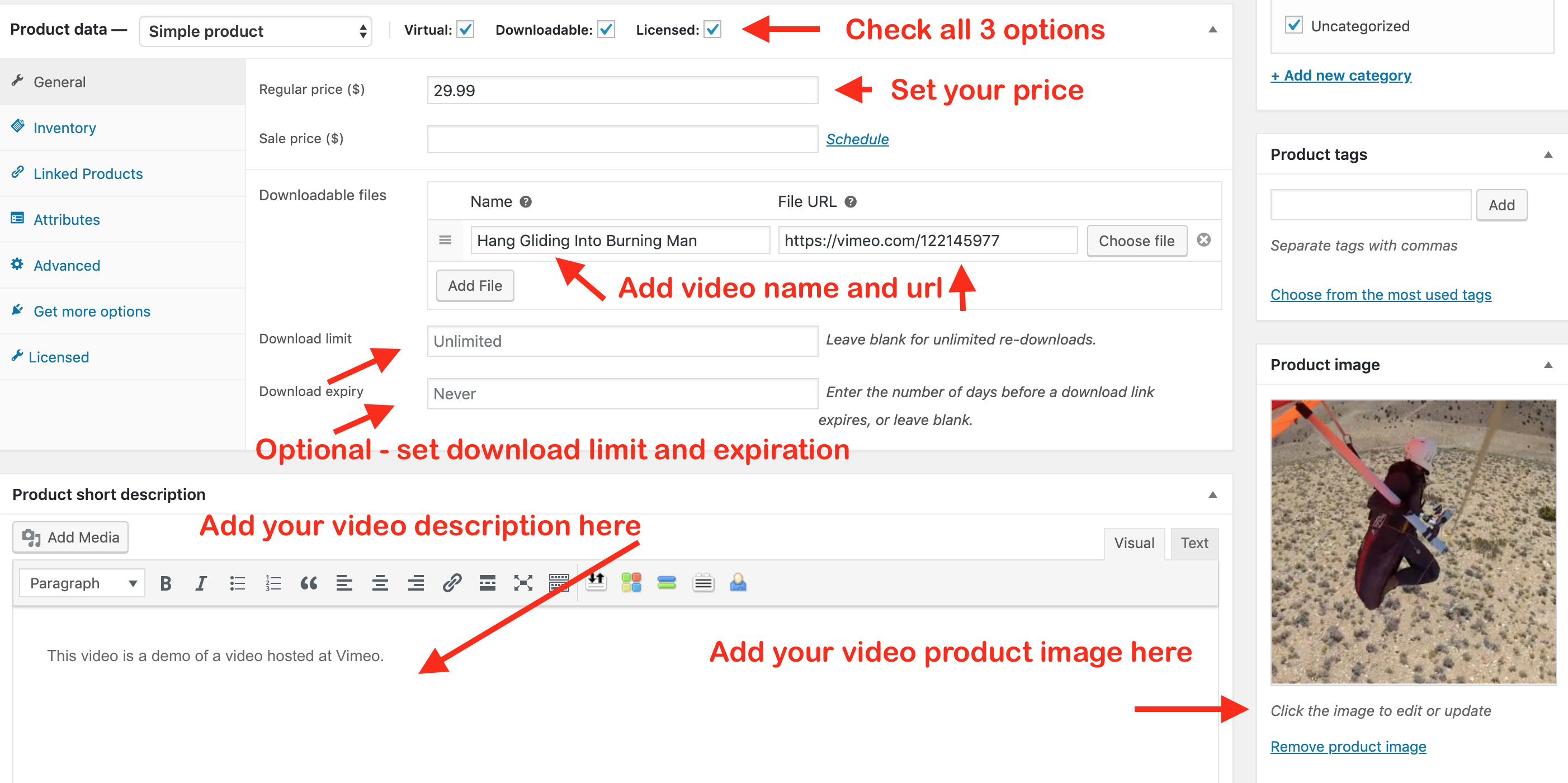 Wordpress Pay Per View - Product Configuration 1